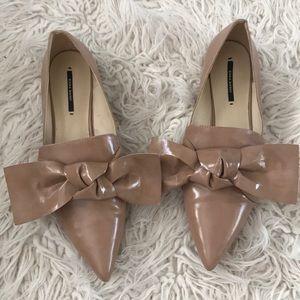 Zara Nude Bow Flats